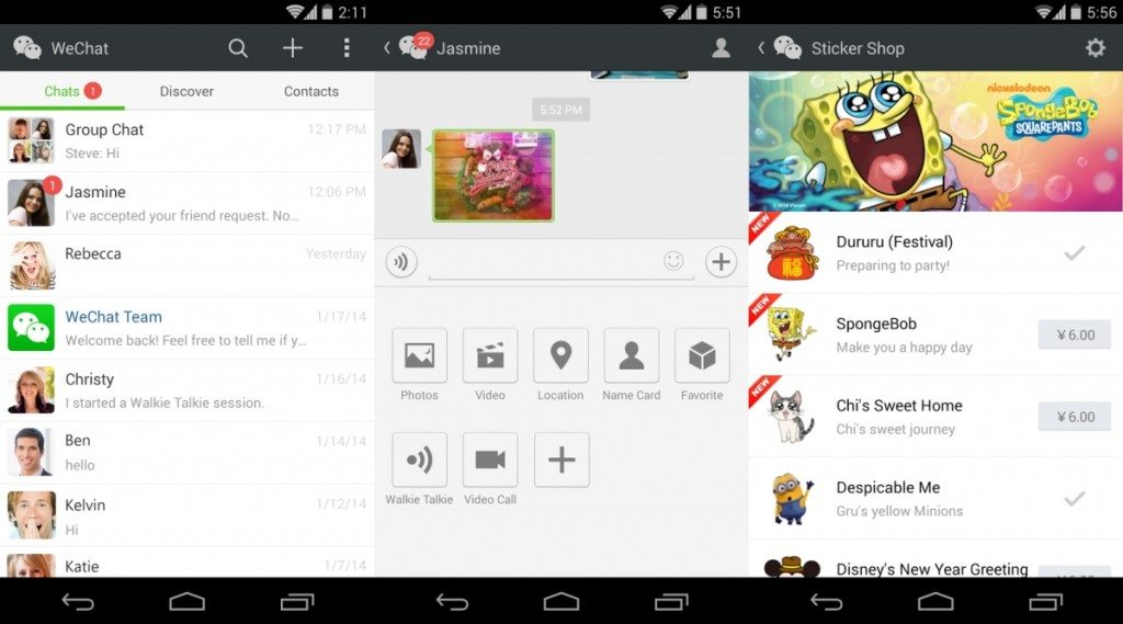 Android Apps for Messaging - WeChat