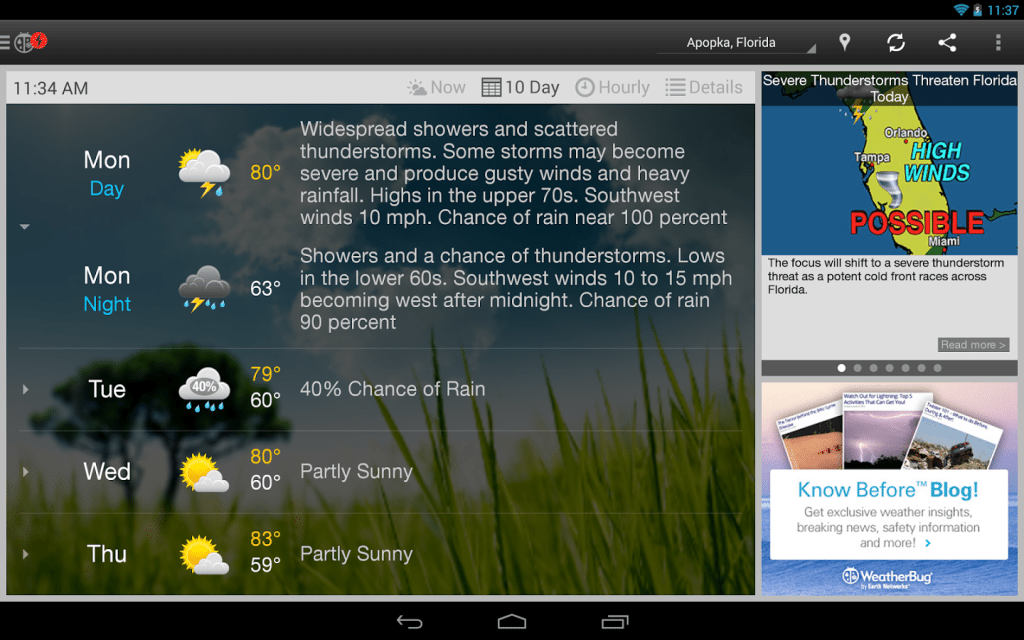 Android Apps for Weather - WeatherBug